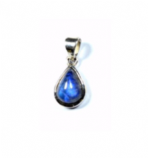 Cute Teardrop Rainbow Moonstone Pendant Silver